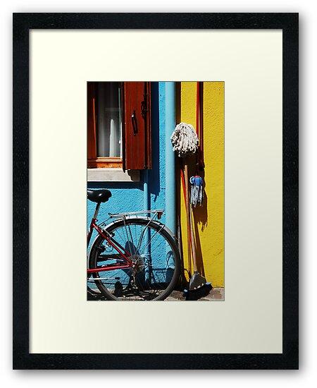 belongings being bicycles brooms and brushes  by ragman