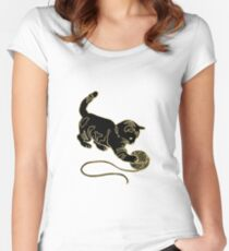 Gold Foil Cat Playing with Yarn Design Women's Fitted Scoop T-Shirt