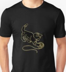 Gold Foil Cat Playing with Yarn Design T-Shirt
