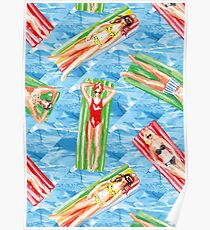 swimmer pool pattern Poster