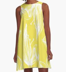 tulip line pattern yellow A-Line Dress