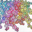 Colourful Spiral Pattern on White Ground by CarolineLembke