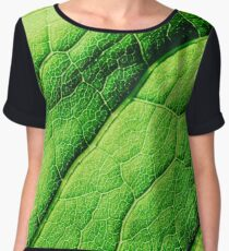 Green Leaf Texture With Visible Stomata Covering The Outer Epidermis Layer Chiffon Top