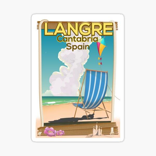 Cartel de vacaciones de Langre, Cantabria España. Pegatina