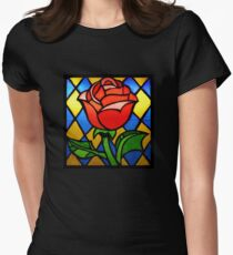 Stained Glass Rose Window Womens Fitted T-Shirt