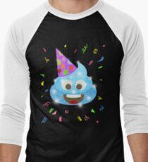 Blue Poop Funny Kids Emoji Birthday Party Men's Baseball ¾ T-Shirt