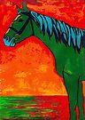 Green Horse Sunset  by Juhan Rodrik