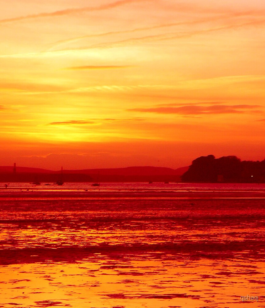 Red Sunset Over Brownsea Island by qshaq