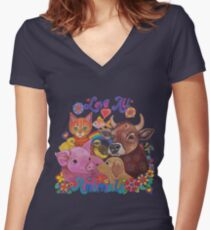 Love all Animals  Fitted V-Neck T-Shirt