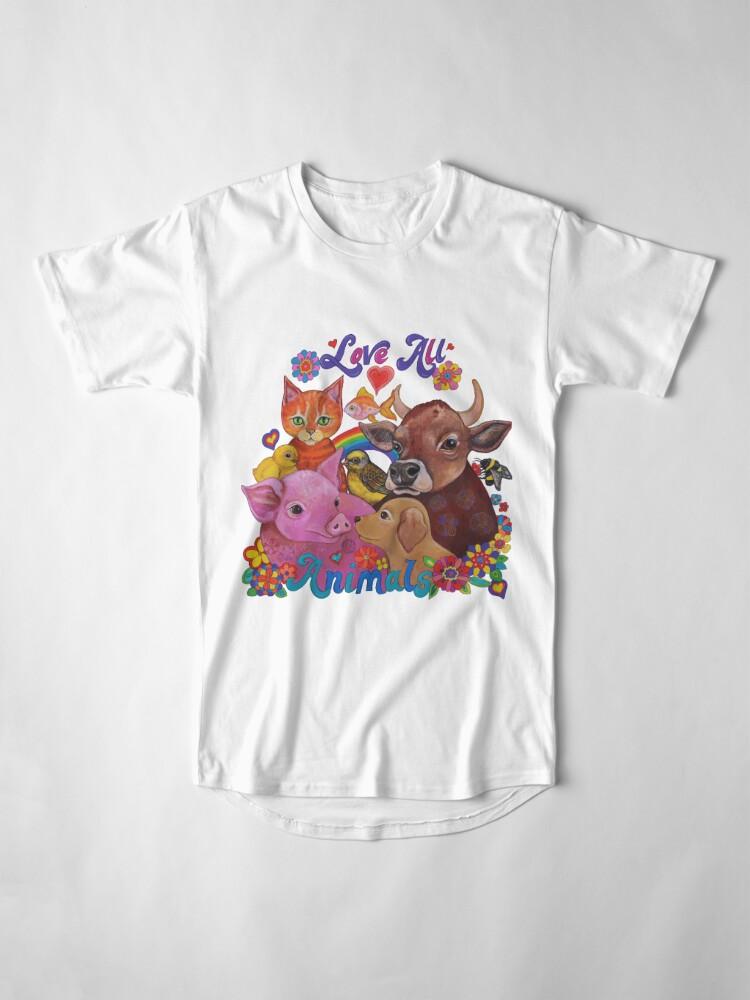 Vista alternativa de Camiseta larga Amo a todos los animales