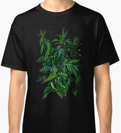 """Green & Black"", summer greenery, floral art, pastel drawing Classic T-Shirt"