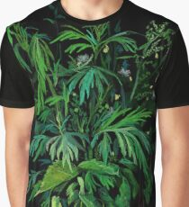 """Green & Black"", summer greenery, floral art, pastel drawing Graphic T-Shirt"