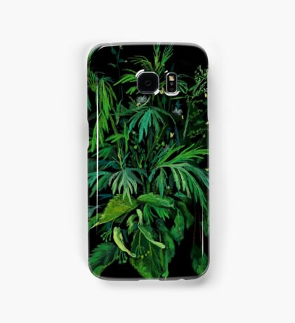 """Green & Black"", summer greenery, floral art, pastel drawing Samsung Galaxy Case/Skin"