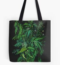 """Green & Black"", summer greenery, floral art, pastel drawing Tote Bag"