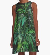 Green and Black, summer greenery, floral art, pastel drawing A-Line Dress