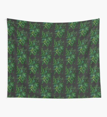 """Green & Black"", summer greenery, floral art, pastel drawing Wall Tapestry"