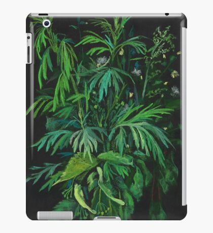 """Green & Black"", summer greenery, floral art, pastel drawing iPad Case/Skin"