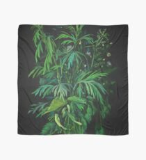 Green and Black, summer greenery, floral art, pastel drawing Scarf