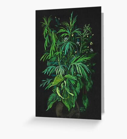 """Green & Black"", summer greenery, floral art, pastel drawing Greeting Card"