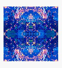A picturesque pattern with a fantastic night sky and lights, flashlights. Photographic Print