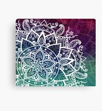 Free Spirit Flower Mandala Purple Blue Green Canvas Print