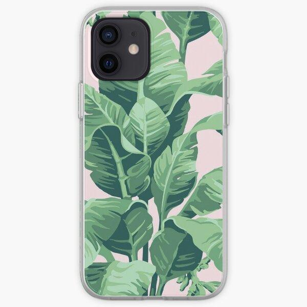 Beverly Hills Palm Leaf Banana Print Pink iPhone Soft Case