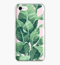 Beverly Hills Palm Leaf Banana Print Pink iPhone Case/Skin