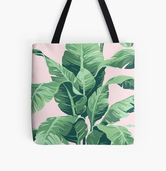 Beverly Hills Palm Leaf Banana Print Pink All Over Print Tote Bag