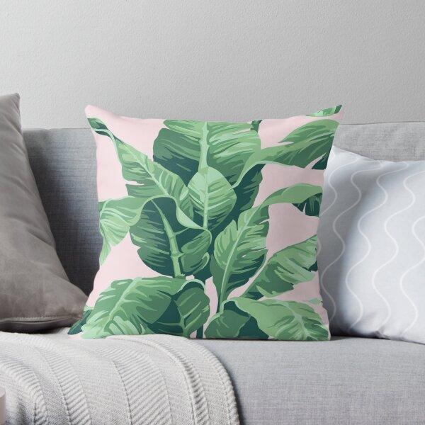 Beverly Hills Palm Leaf Banana Print Pink Throw Pillow