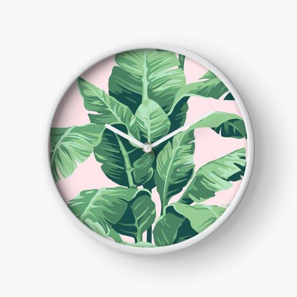 Beverly Hills Palm Leaf Banana Print Pink Clock