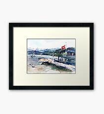 Zurich lake. Switzerland. Watercolor painting. Framed Print