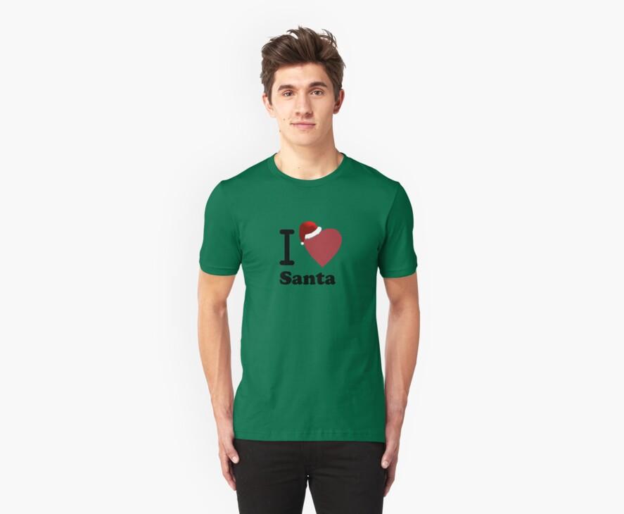I Love Santa ( Black Text T-Shirt & Sticker) by PopCultFanatics
