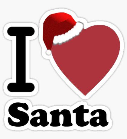 I Love Santa ( Black Text T-Shirt & Sticker) Sticker