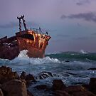 Shipwreck at Sunset by vividpeach