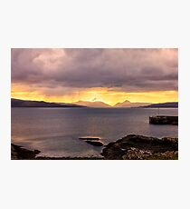 Cuillin Mountain Sunset from Gairloch Harbour Photographic Print