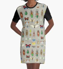 The Usual Suspects - Insects on grey - watercolour bugs pattern by Cecca Designs Graphic T-Shirt Dress