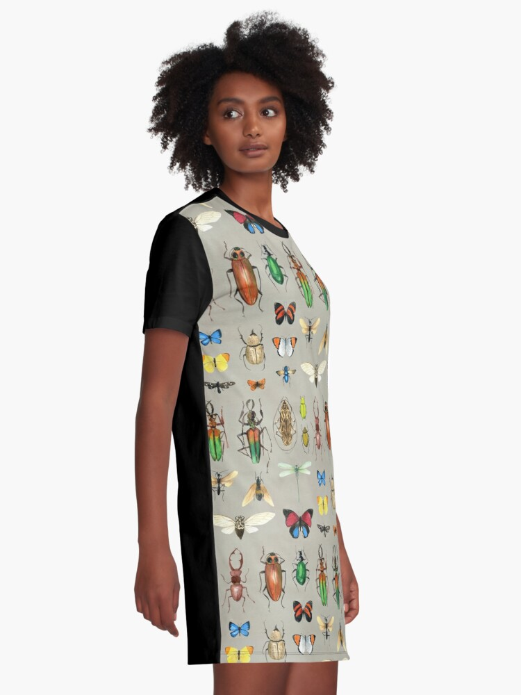 Alternate view of The Usual Suspects - Insects on grey - watercolour bugs pattern by Cecca Designs Graphic T-Shirt Dress