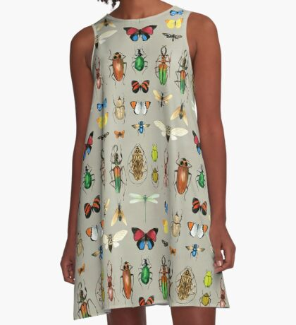 The Usual Suspects - Insects on grey A-Line Dress