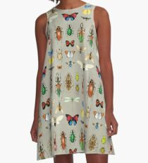 The Usual Suspects - Insects on grey - watercolour bugs pattern by Cecca Designs A-Line Dress