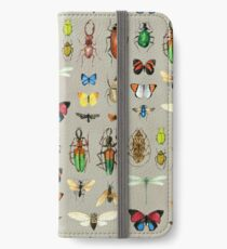 The Usual Suspects - Insects on grey - watercolour bugs pattern by Cecca Designs iPhone Wallet/Case/Skin