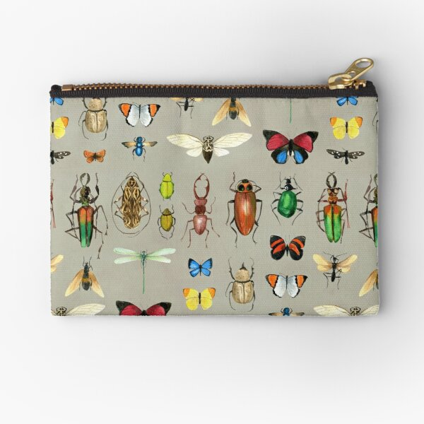 The Usual Suspects - Insects on grey - watercolour bugs pattern by Cecca Designs Zipper Pouch