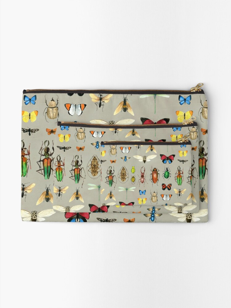 Alternate view of The Usual Suspects - Insects on grey - watercolour bugs pattern by Cecca Designs Zipper Pouch