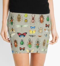 The Usual Suspects - Insects on grey - watercolour bugs pattern by Cecca Designs Mini Skirt