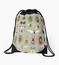 The Usual Suspects - Insects on grey - watercolour bugs pattern by Cecca Designs Drawstring Bag