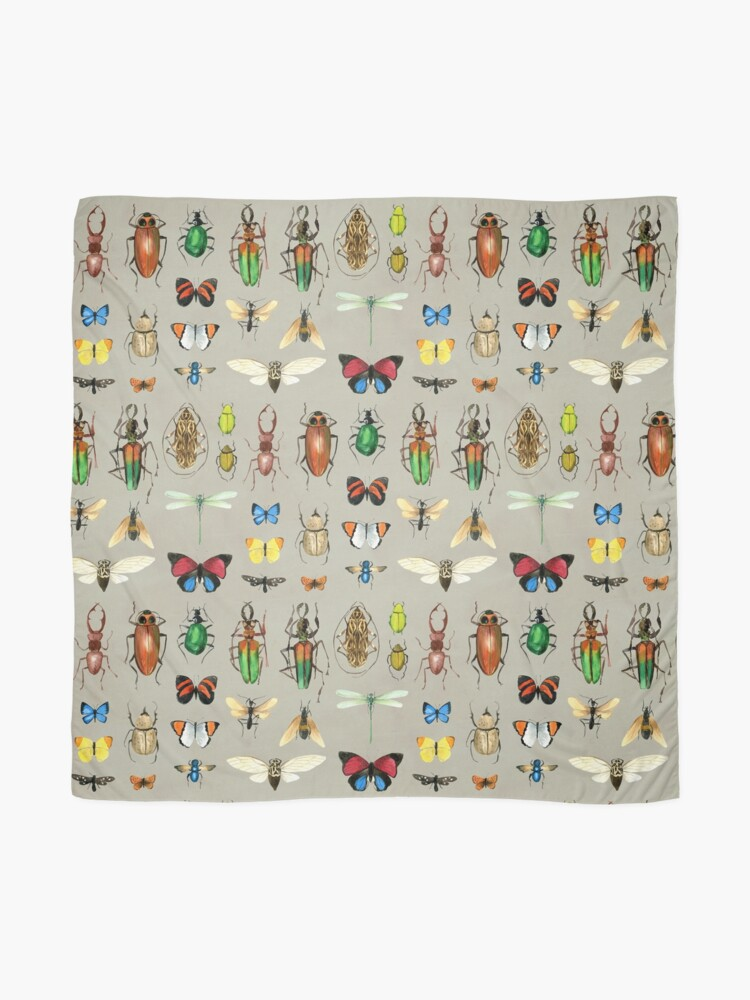 Alternate view of The Usual Suspects - Insects on grey - watercolour bugs pattern by Cecca Designs Scarf