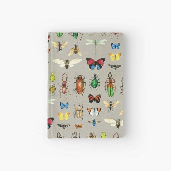 The Usual Suspects - Insects on grey - watercolour bugs pattern by Cecca Designs Hardcover Journal