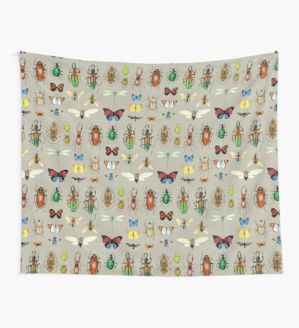 The Usual Suspects - Insects on grey Wall Tapestry