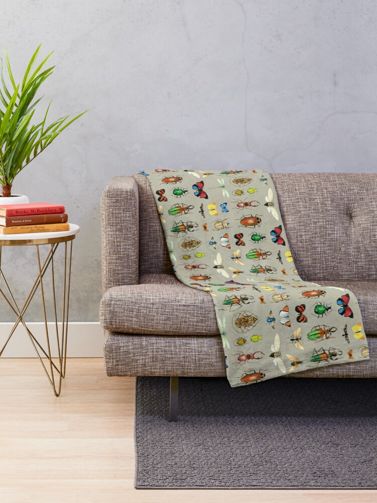 Alternate view of The Usual Suspects - Insects on grey - watercolour bugs pattern by Cecca Designs Throw Blanket