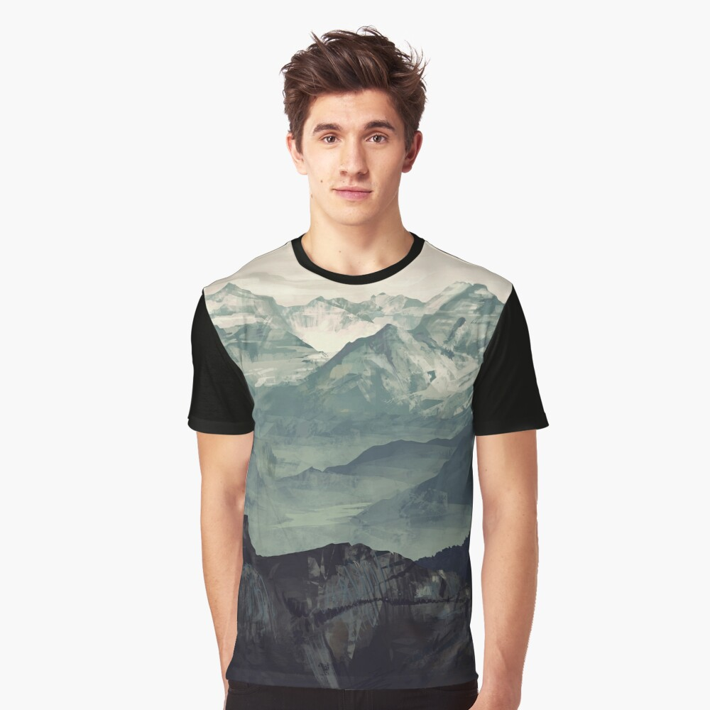 Berg Nebel Grafik T-Shirt