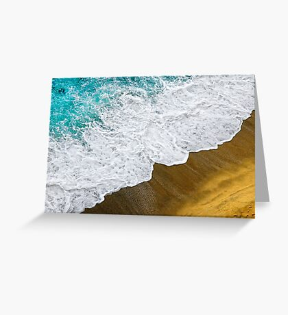 Footsteps in the sand hopelessly facing the rising tide Greeting Card